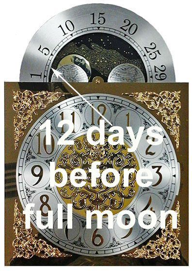 12 days before full moon on grandfather clock