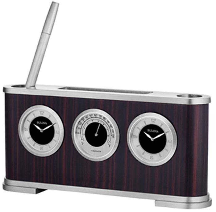 detailed image of bulova b5005 woodside executive desk clock - Desk Clocks