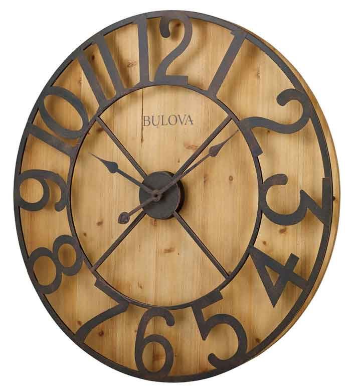 oversized wall clocks bulova c4814ap barnboard large wall clock the clock depot 29738