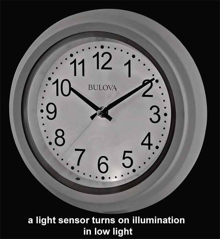 Bulova C4865 Night Vision Illuminated Wall Clock The