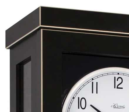 Edge detail of the Hermle Carrington 740341 Keywound Wall Clock in Black