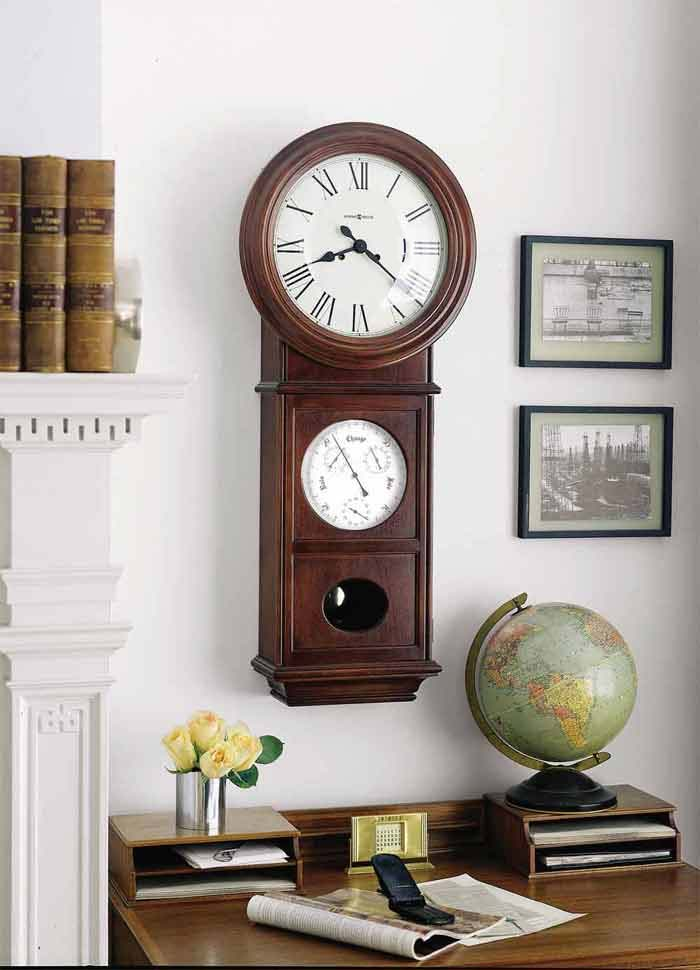 detailed image of the howard miller lawyer ii keywound wall clock