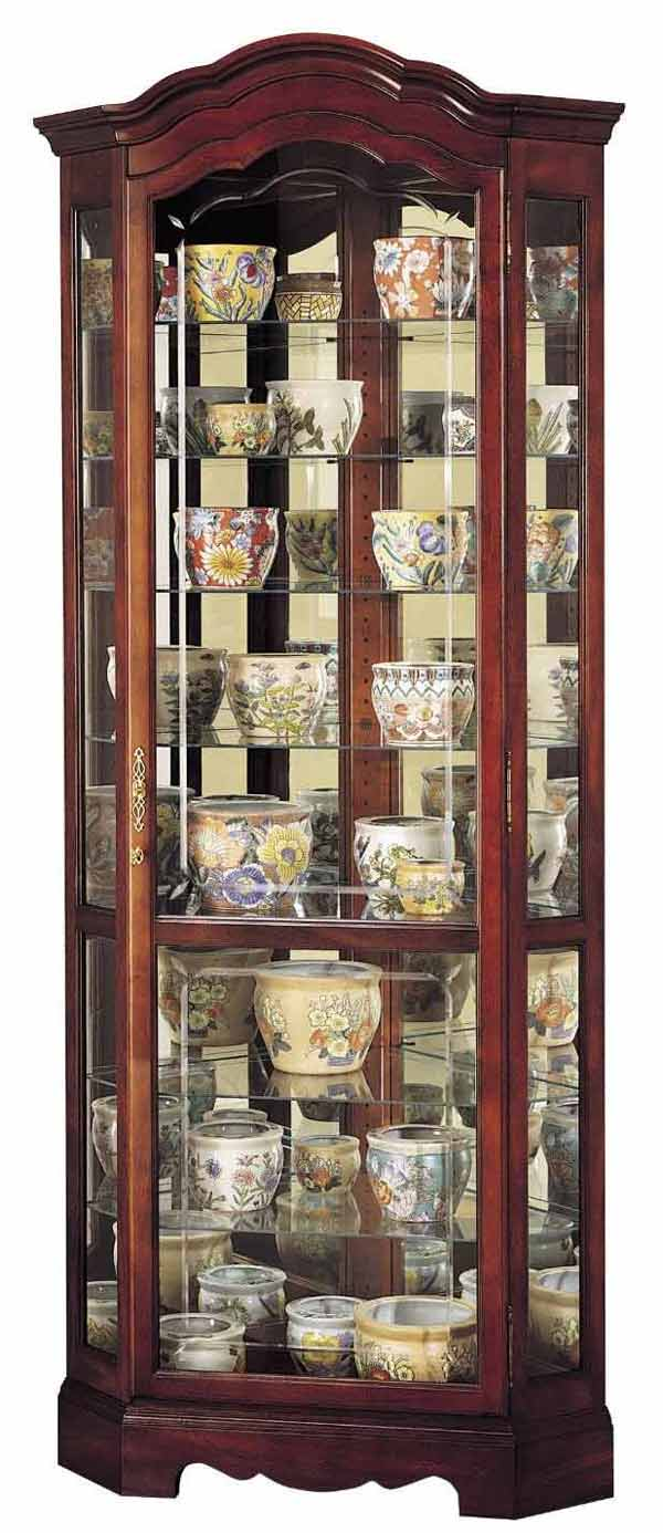 Detailed Image Of The Howard Miller Jamestown 680 249 Corner Curio Cabinet  ...