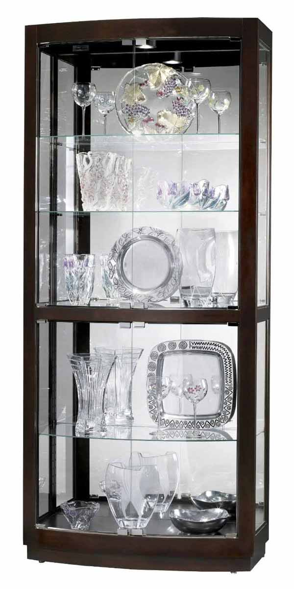 detailed image of the howard miller bradington curved glass curio cabinet
