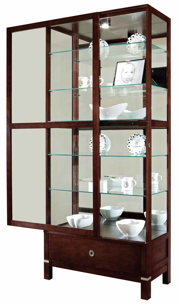 ... Doors open from the sides for easy access on the Howard Miller  Williamson Modern Curio Cabinet ...