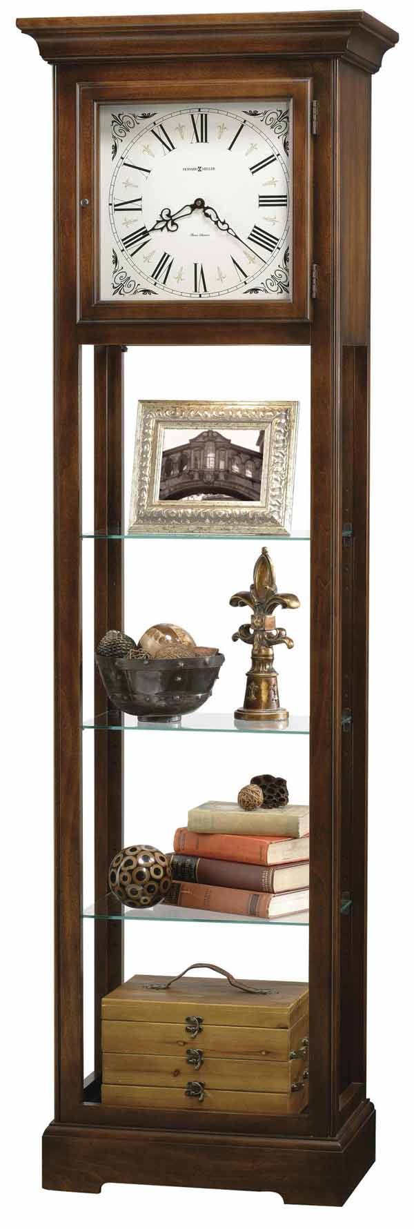 Detailed Image Of The Howard Miller Lerose 611 148 Quartz Curio Grandfather Clock