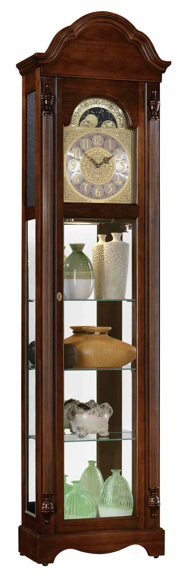 Detailed Image Of The Ridgeway Clarksburg 2041 Quartz Curio Grandfather Clock