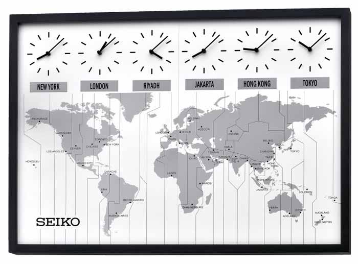 World Map Clocks For Sale.  Seiko QXA538KLH Time Zone Clock
