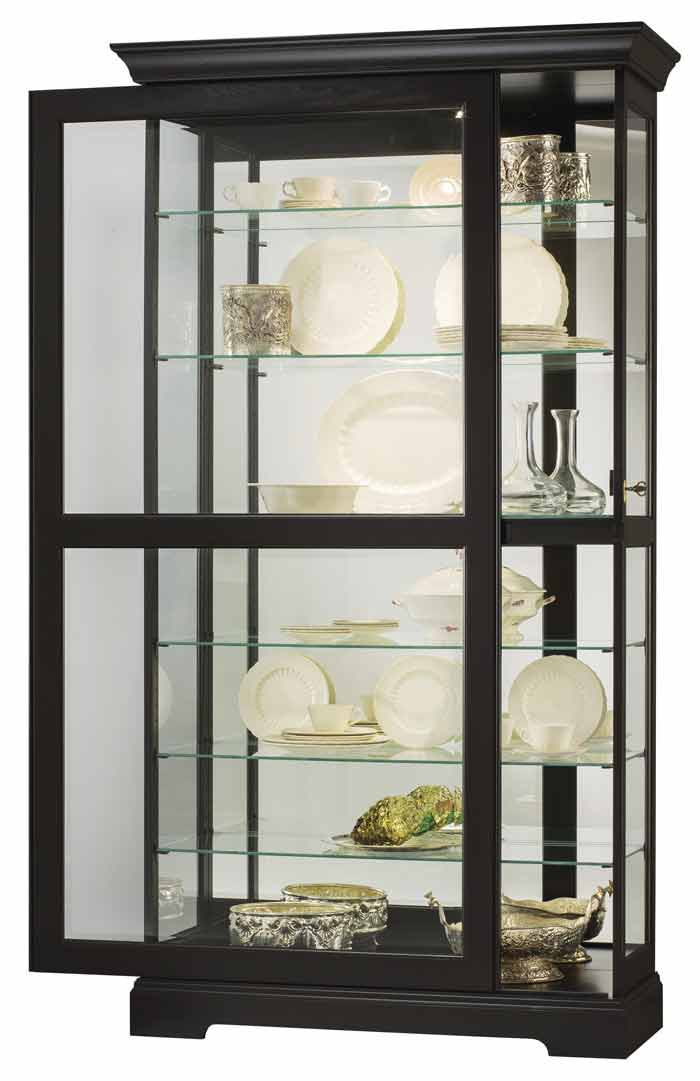 company luxury with black silver curio and for in cherry cabinet light buffet hutch corner
