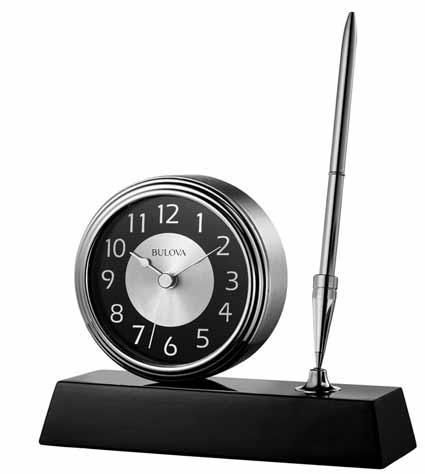 Bulova B1702 Signature Desk Clock and Pen Set