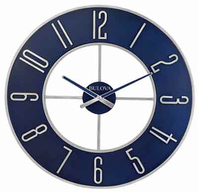 Bulova C4809 Blue Steel Large Wall Clock