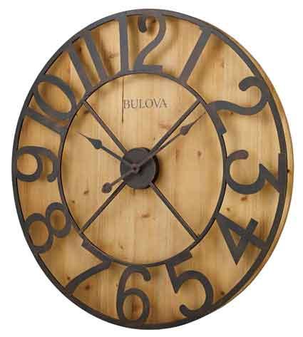 bulova c4814ap barnboard large wall clock the clock depot