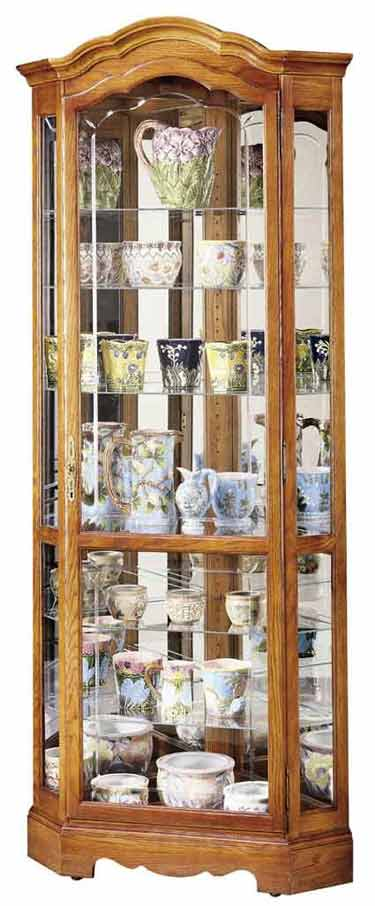 Display Shelves For Collectibles >> Howard Miller Jamestown II 680-250 Oak Corner Curio Cabinet