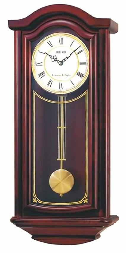 Seiko Qxh118blh Chiming Cherry Wall Clock The Clock Depot