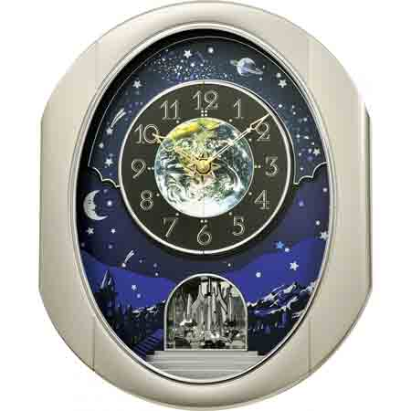 Rhythm 4MH408WU19 Peaceful Cosmos II Musical Clock