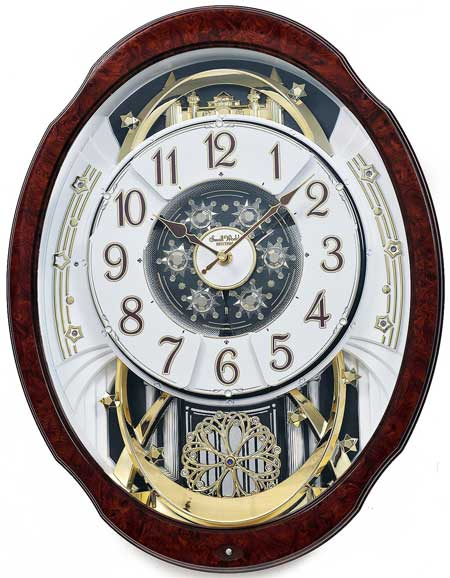 Rhythm 4MH412WU23 Woodgrain Marvelous Musical Motion Clock