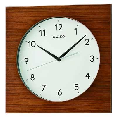 Seiko QXA766ZLH Modern Square Wall Clock in Brown