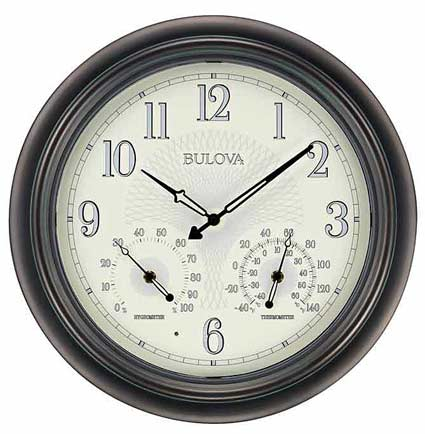 Bulova C4813 Weather Master Ii Outdoor Wall Clock The