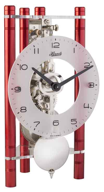 Hermle Lakin 23025-360721 Keywound Table Clock in Red