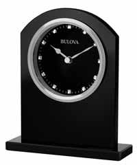 Bulova B5010 Ebony Crystal Desk and Table Clock