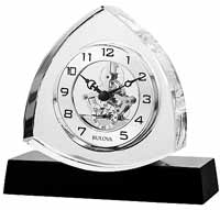 Bulova B1706 Trident Crystal Triangular Skeleton Clock