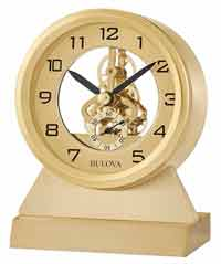 Bulova B1710 Golden Eye Skeleton Gear Desk Clock