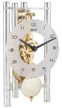Hermle Lakin 23022-X40721 Keywound Table Clock in Silver / Brass Gears
