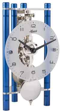 Hermle Lakin 23025-Q70721 Keywound Table Clock in Blue