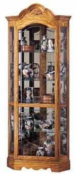 Howard Miller Wilshire 680-207 Oak Corner Curio Cabinet