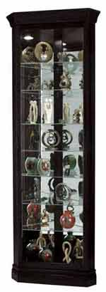 Howard Miller Duane 680-487 Satin Black Corner Curio Cabinet