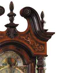 exotic inlay on grandfather clock top
