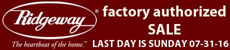 Ridgeway Grandfather Clock Sale - Sale Ends 07-31-2016